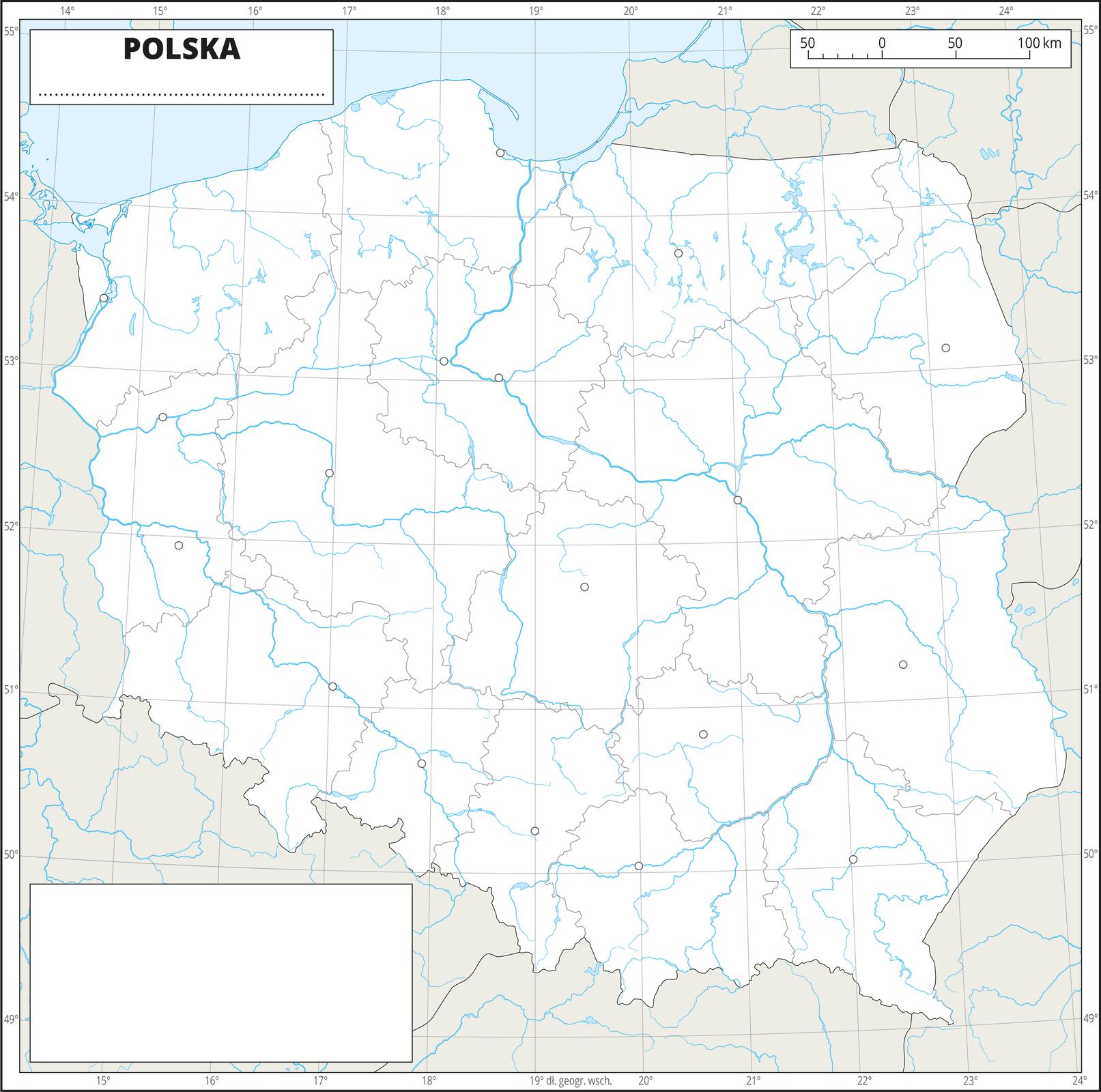 Ilustracja przedstawia konturową mapę Polski zpodziałem na województwa. Na mapie przedstawiono hydrografię, granice województw, sygnatury miast wojewódzkich.Dookoła mapy wbiałej ramce opisano współrzędne geograficzne co jeden stopień. Wprawym, górnym rogu znajduje się podziałka liniowa.