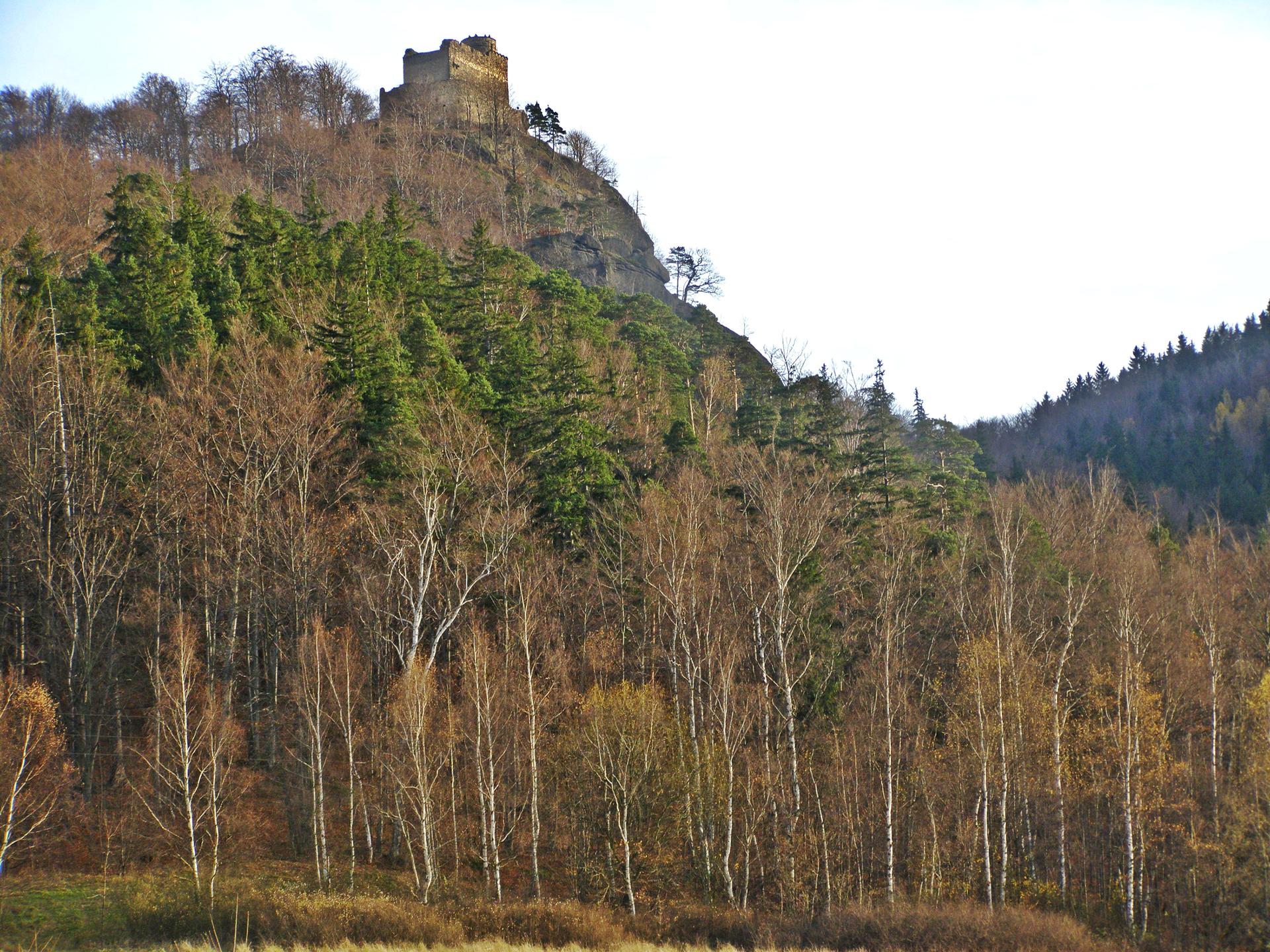 Fotografia prezentuje szczyt górski, na którym znajduje się zamek Chojnik. Upodnóża szczytu rosną liczne drzewa liściaste iiglaste. Fotografia wykonana jesienią.