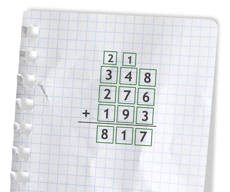 Przykład: 348 +276 +193 =817. Rozwiązanie zadania podpunkt e.