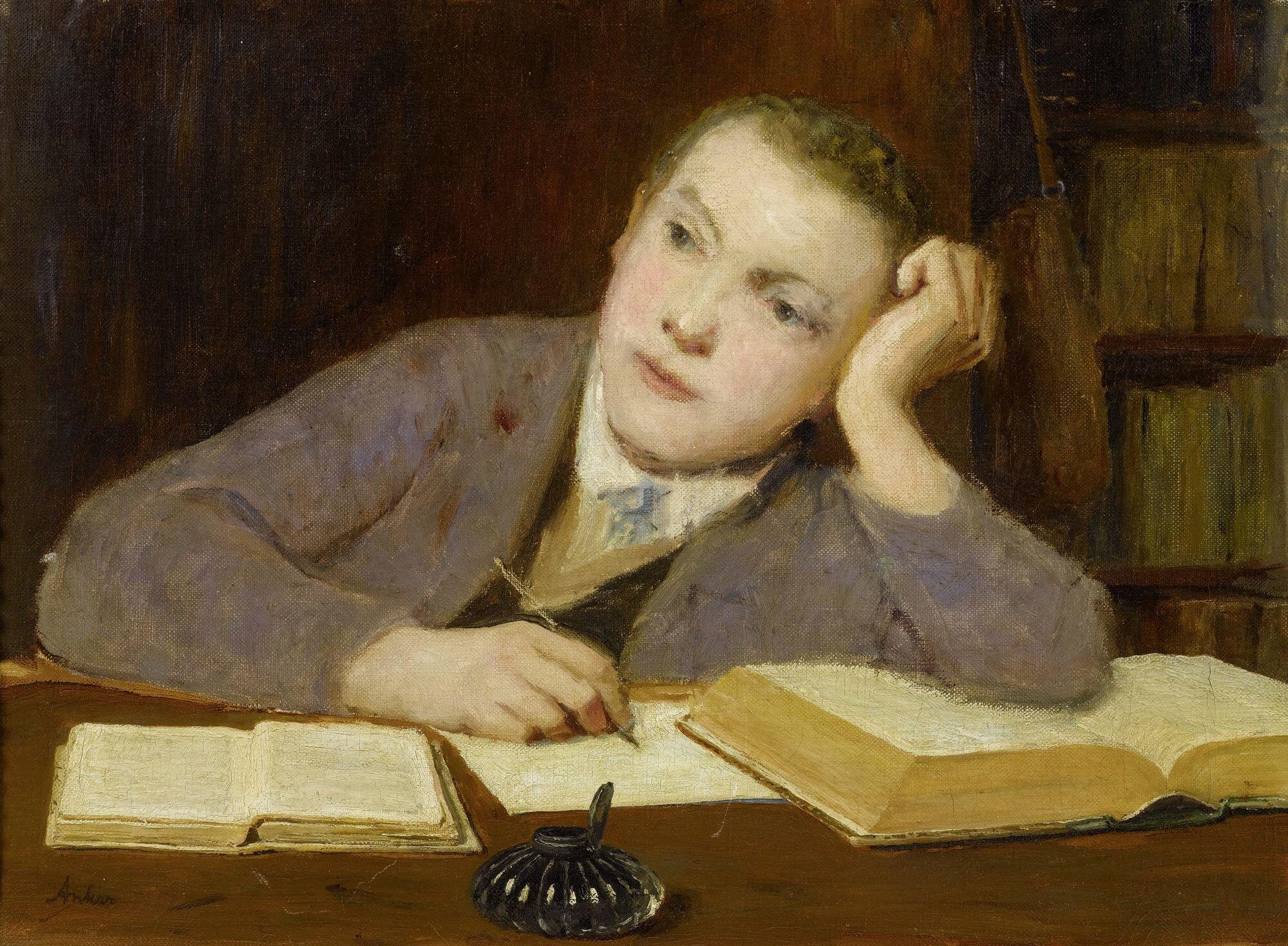Piszący chłopiec Źródło: Albert Anker, Piszący chłopiec, ok. 1908, olej na płótnie, domena publiczna.