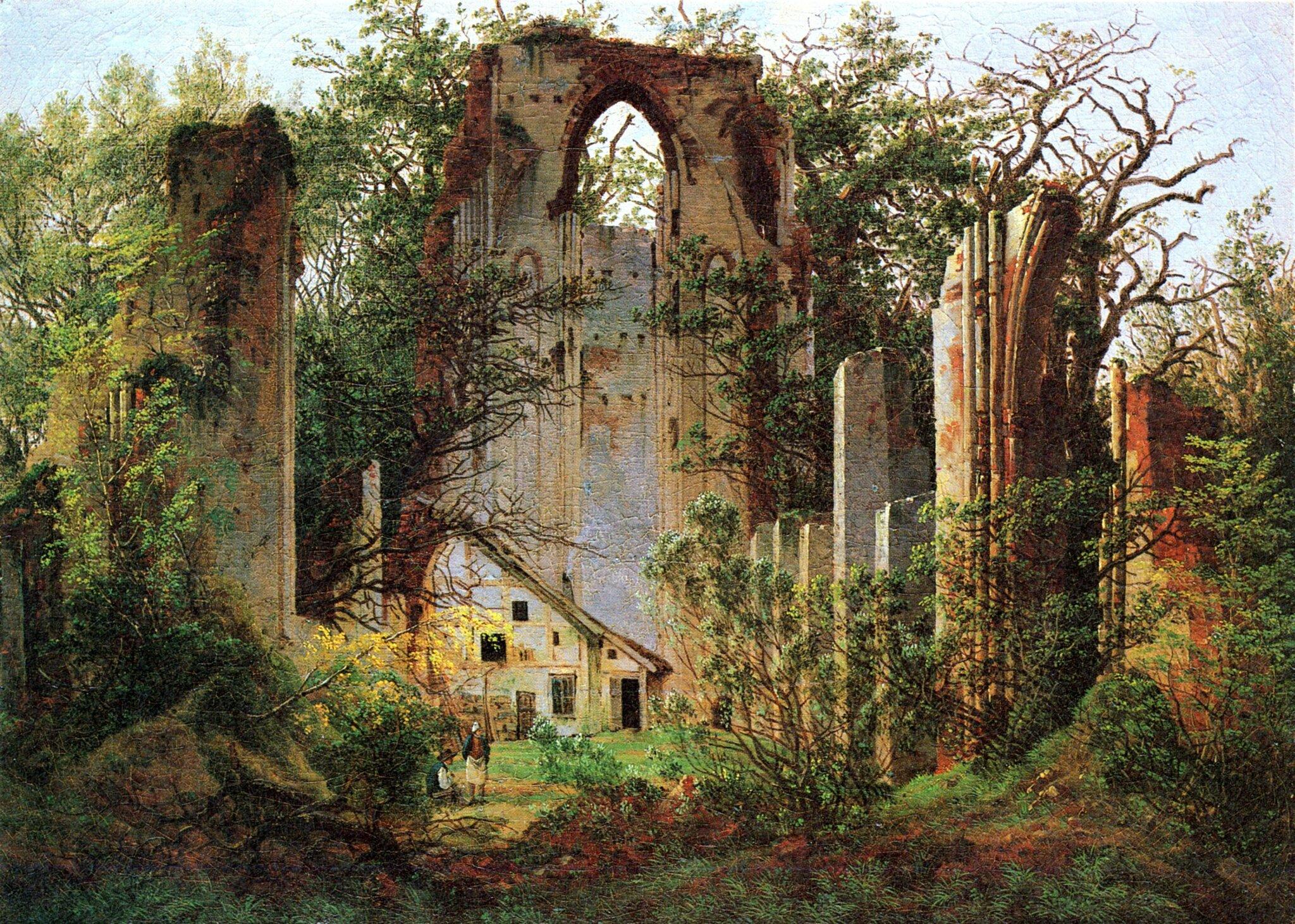Ruiny klasztoru Eldena 1. Źródło: Caspar David Friedrich, Ruiny klasztoru Eldena, ok. 1825, olej na płótnie, Alte Nationalgalerie, Berlin, domena publiczna.