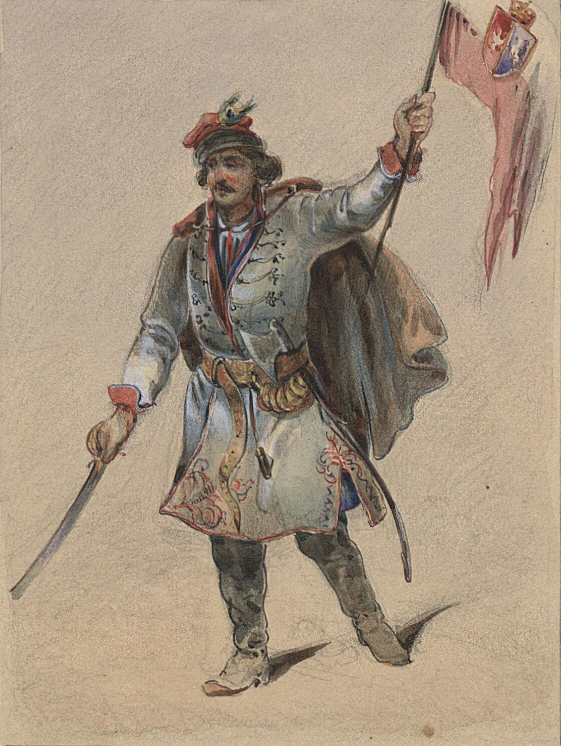 Kosynier Źródło: Cyprian Kamil Norwid, Kosynier, 1843, akwarela, domena publiczna.