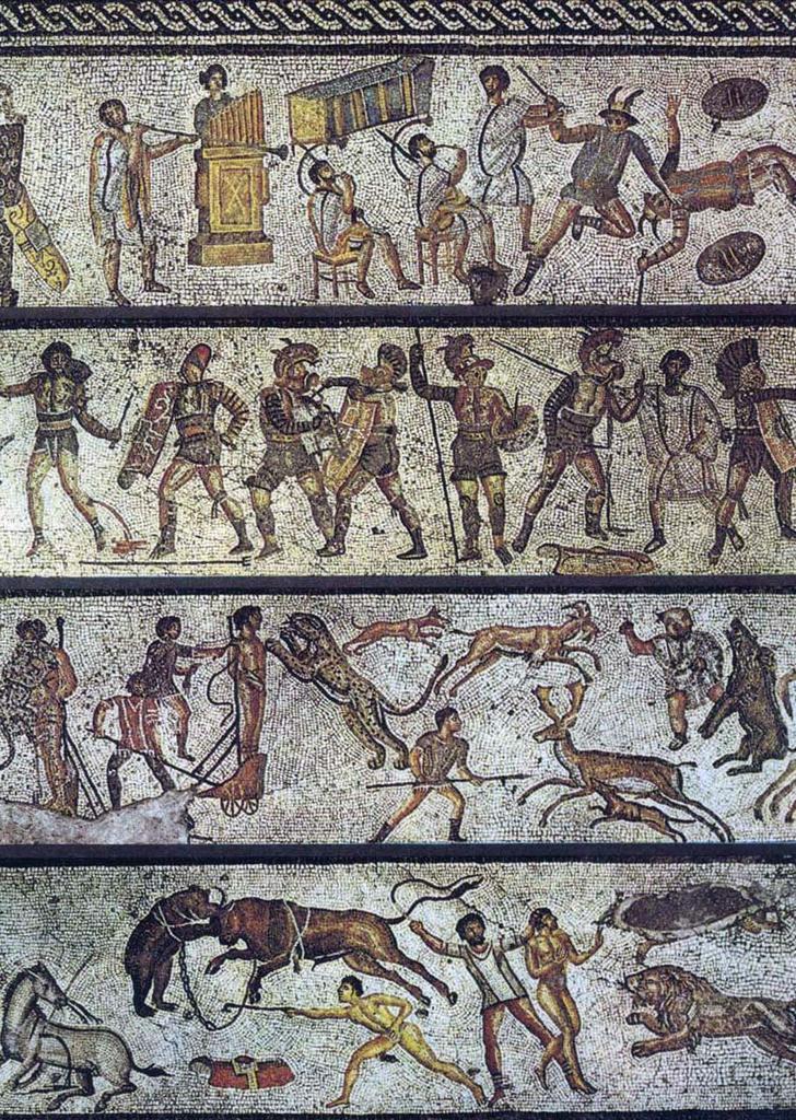 Mozaika rzymska przedstawiająca walki na arenie, przechowywana wmuzeumJamahiriya wTrypolisie Mozaika rzymska przedstawiająca walki na arenie, przechowywana wmuzeumJamahiriya wTrypolisie Źródło: domena publiczna.