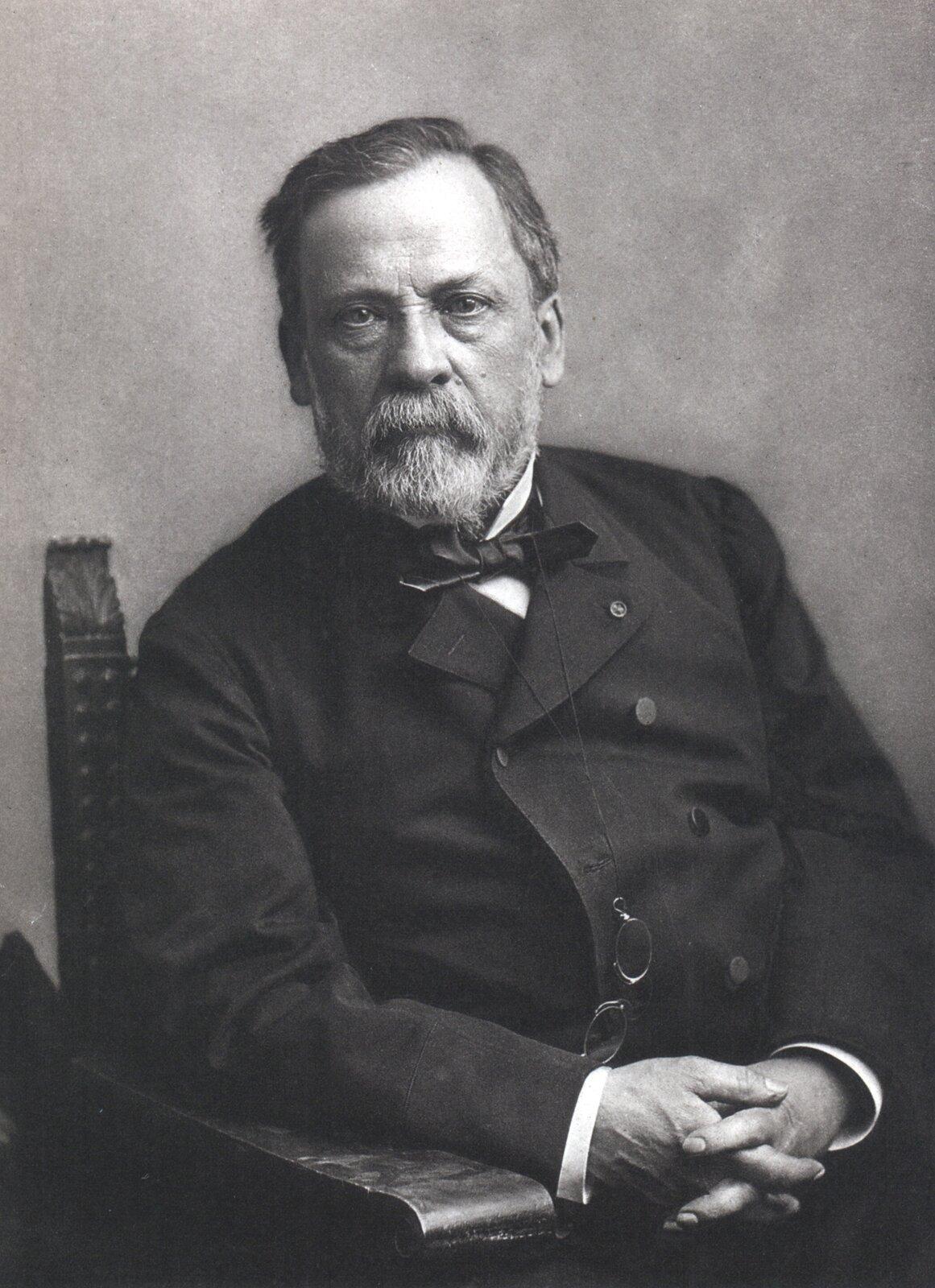 Ilustracja przedstawia portret siedzącego na krześle mężczyzny wśrednim wieku. Ma wąsy ibrodę.