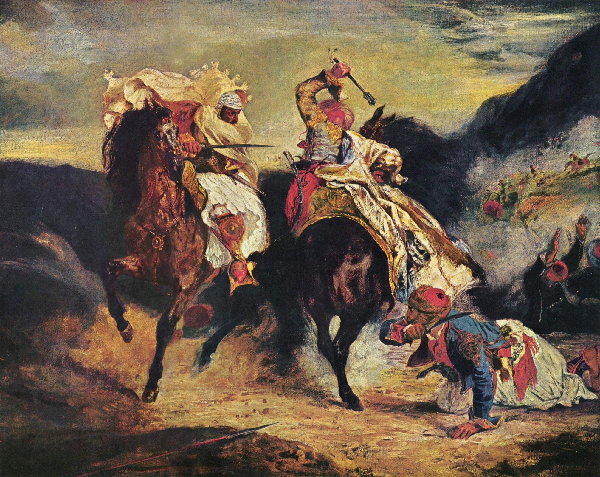 Walka Giaura zHassanem Źródło: Eugène Ferdinand Victor Delacroix, Walka Giaura zHassanem, 1826, olej na płótnie, Art Institute of Chicago, domena publiczna.