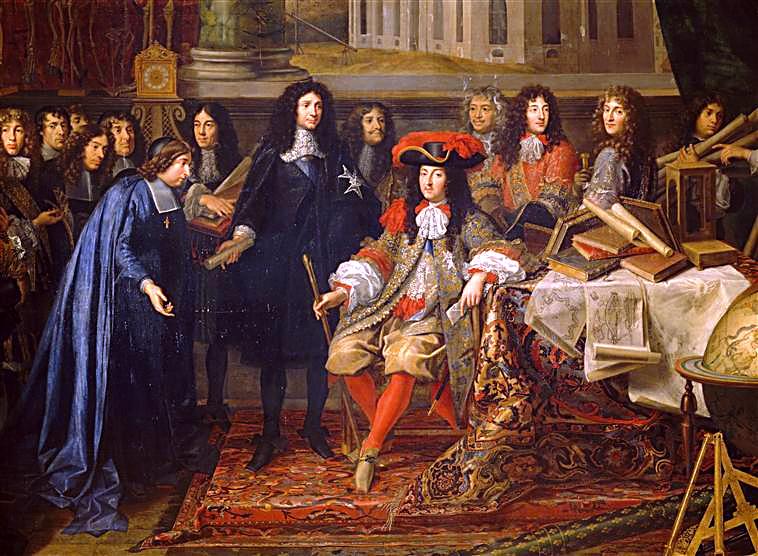 Minister Colbert przedstawia w1667 r. Ludwikowi XIV członkówKrólewskiej Akademii Nauk Minister Colbert przedstawia w1667 r. Ludwikowi XIV członkówKrólewskiej Akademii Nauk Źródło: Henri Testelin, XVII w., Pałac wWersalu, domena publiczna.