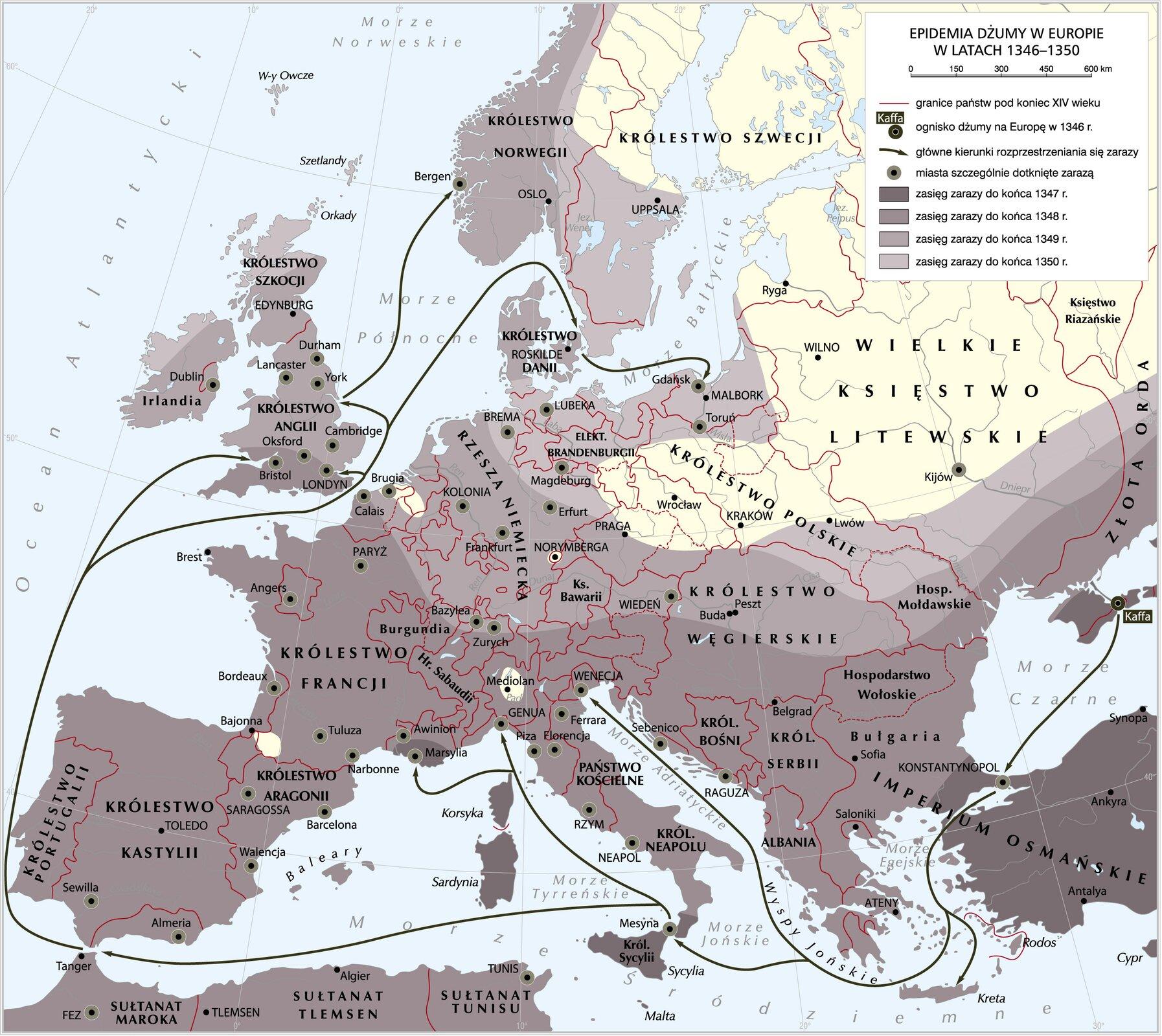 Epidemia dżumy wEuropie wlatach 1346-1350 Epidemia dżumy wEuropie wlatach 1346-1350 Źródło: Krystian Chariza izespół, licencja: CC BY 3.0.