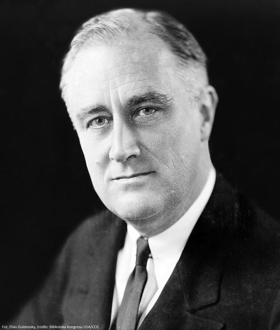 Franklin Delano Roosevelt Źródło: Elias Goldensky, Franklin Delano Roosevelt, Biblioteka Kongresu Stanów Zjednoczonych, domena publiczna.