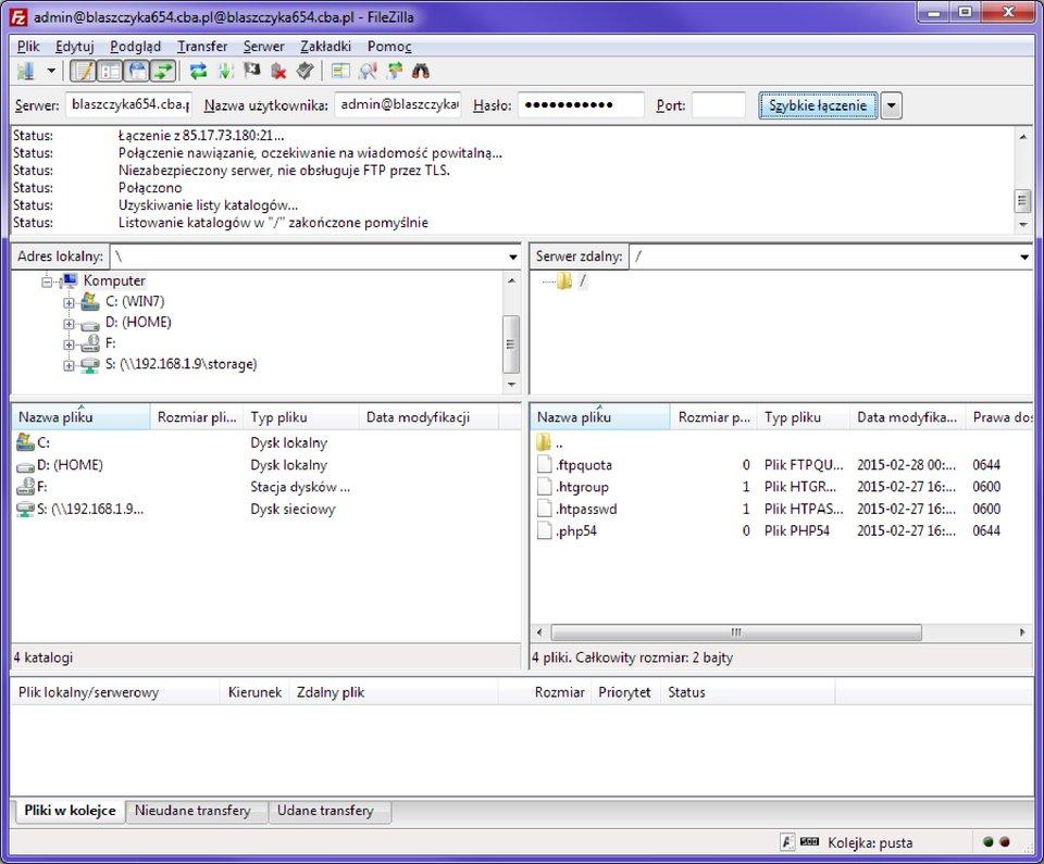 Widok okna programu obsługującego zdalne zasoby serwera FTP