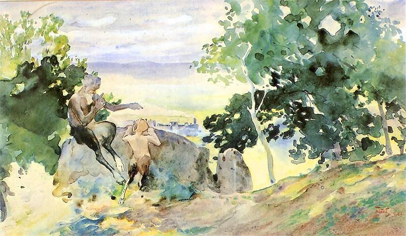 Fauny Źródło: Julian Fałat, Fauny, 1902, akwarela na papierze, Muzeum Narodowe wPoznań, domena publiczna.