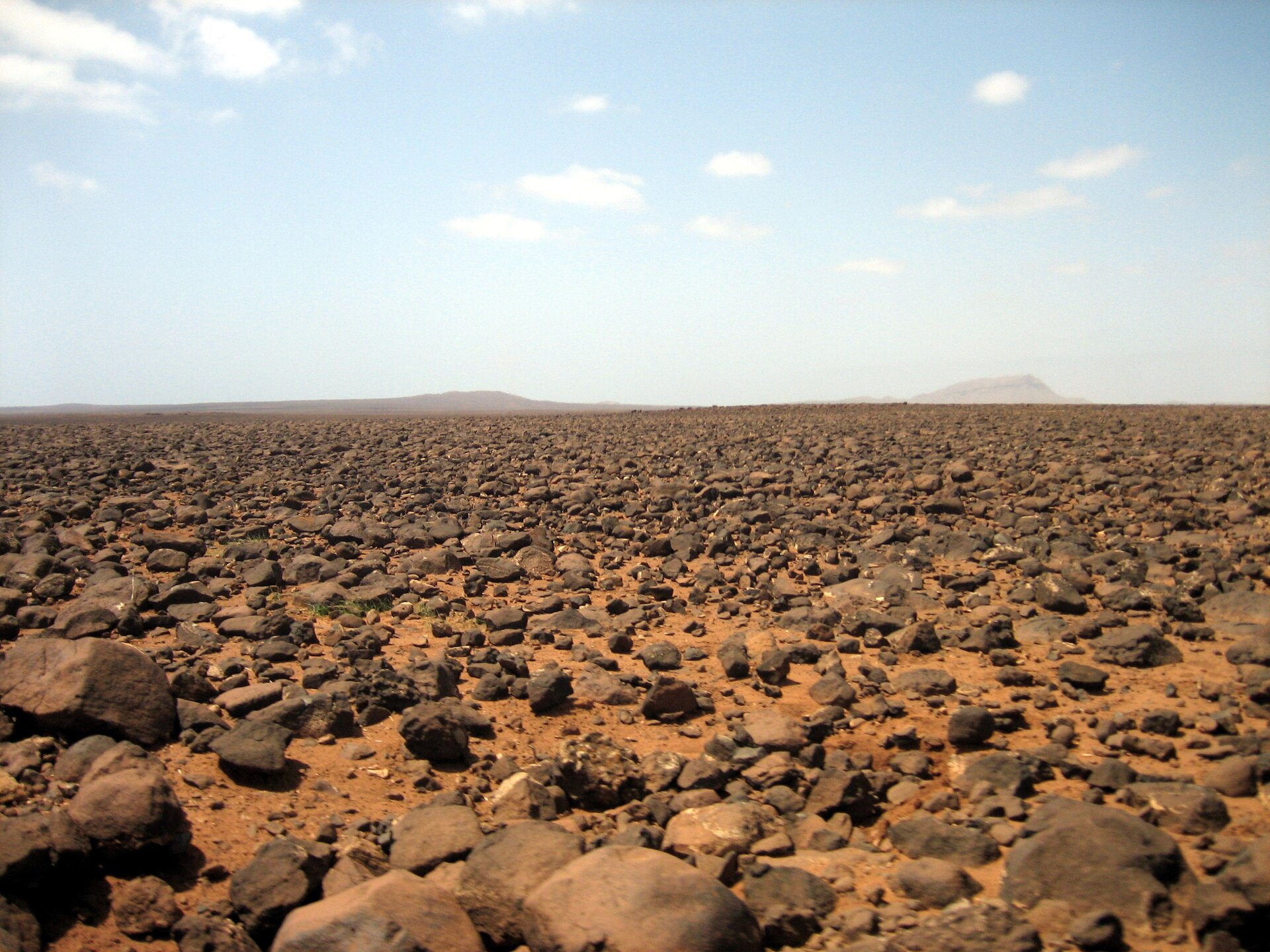 Na zdjęciu pustynia kamienista. Teren płaski, na ceglastym piasku leżą kamienie różnej wielkości. Na horyzoncie pasmo gór. Niebieskie niebo, białe chmury.