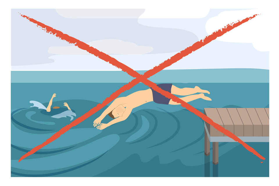 Ilustracja 6. Po prawej stronie ilustracji drewniany pomost. Zpomostu, mężczyzna skacze do wody na główkę. Na lewo od pomostu osoba tonąca. Cała ilustracja przekreślona dwoma krzyżującymi się czerwonymi liniami. Instrukcja: nie skacz do wody na główkę.