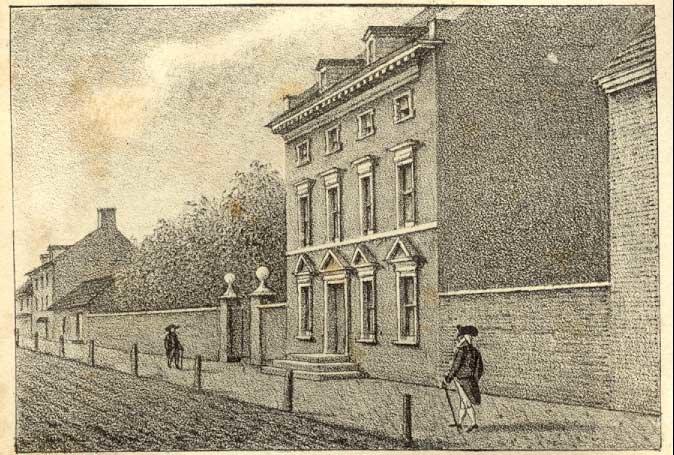 Dom pierwszych prezydentówUSA wFiladelfii Dom pierwszych prezydentówUSA wFiladelfii Źródło: William L. Breton, ok. 1828-30, domena publiczna.