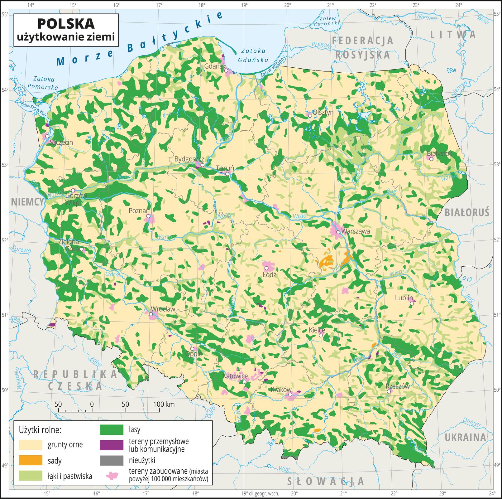 Ilustracja przedstawia mapę Polski. Na mapie za pomocą kolorów przedstawiono użytkowanie ziemi wPolsce. Oznaczono iopisano główne miasta. Granice województw oznaczono szarymi liniami. Opisano państwa sąsiadujące. Na mapie kolorem kremowym oznaczono grunty orne, zajmujące większą część Polski. Kolorem jasnozielonym oznaczono łąki ipastwiska. Występują one nierównomiernie na terenie całego kraju ale największe ich skupisko jest we wschodniej części Polski. Kolorem zielonym oznaczono występowanie lasów, które występują nierównomiernie na terenie całego kraju. Kolorem różowym oznaczono tereny zabudowane, które pokrywają się zpołożeniem miast. Kolorem pomarańczowym oznaczono sady, które skupione są wwojewództwie mazowieckim. Dookoła mapy wbiałej ramce opisano współrzędne geograficzne co jeden stopień. Wlegendzie na dole mapy objaśniono kolory użyte na mapie.