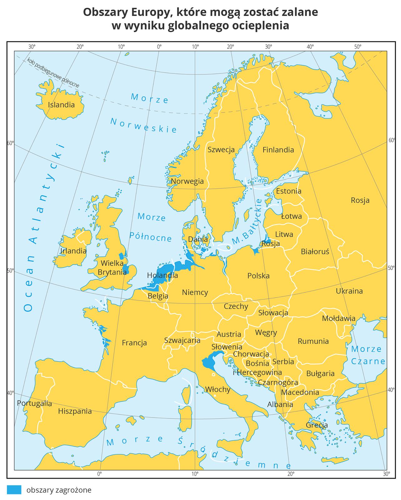 Mapa przedstawia kraje Europy wkolorze żółtym. Na północnych wybrzeżach Rosji, Polski, Niemiec, Holandii, zachodnich Wielkiej Brytanii, wschodnich Francji ipołudniowych wybrzeżach Włoch iSłowenii na niebiesko zaznaczono obszary, które mogą zostać zalane wwyniku globalnego ocieplenia.