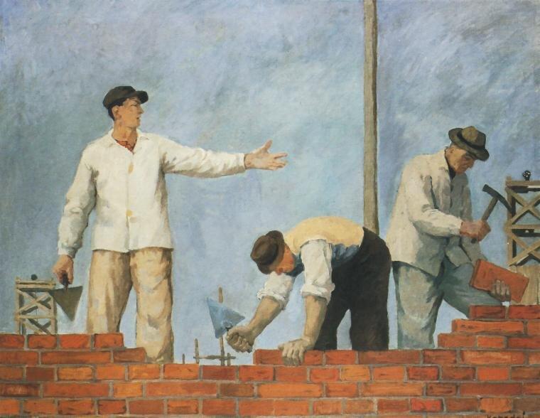 Podaj cegłę Źródło: Aleksander Kobzej, Podaj cegłę, 1950, Muzeum Narodowe we Wrocławiu, licencja: CC 0.