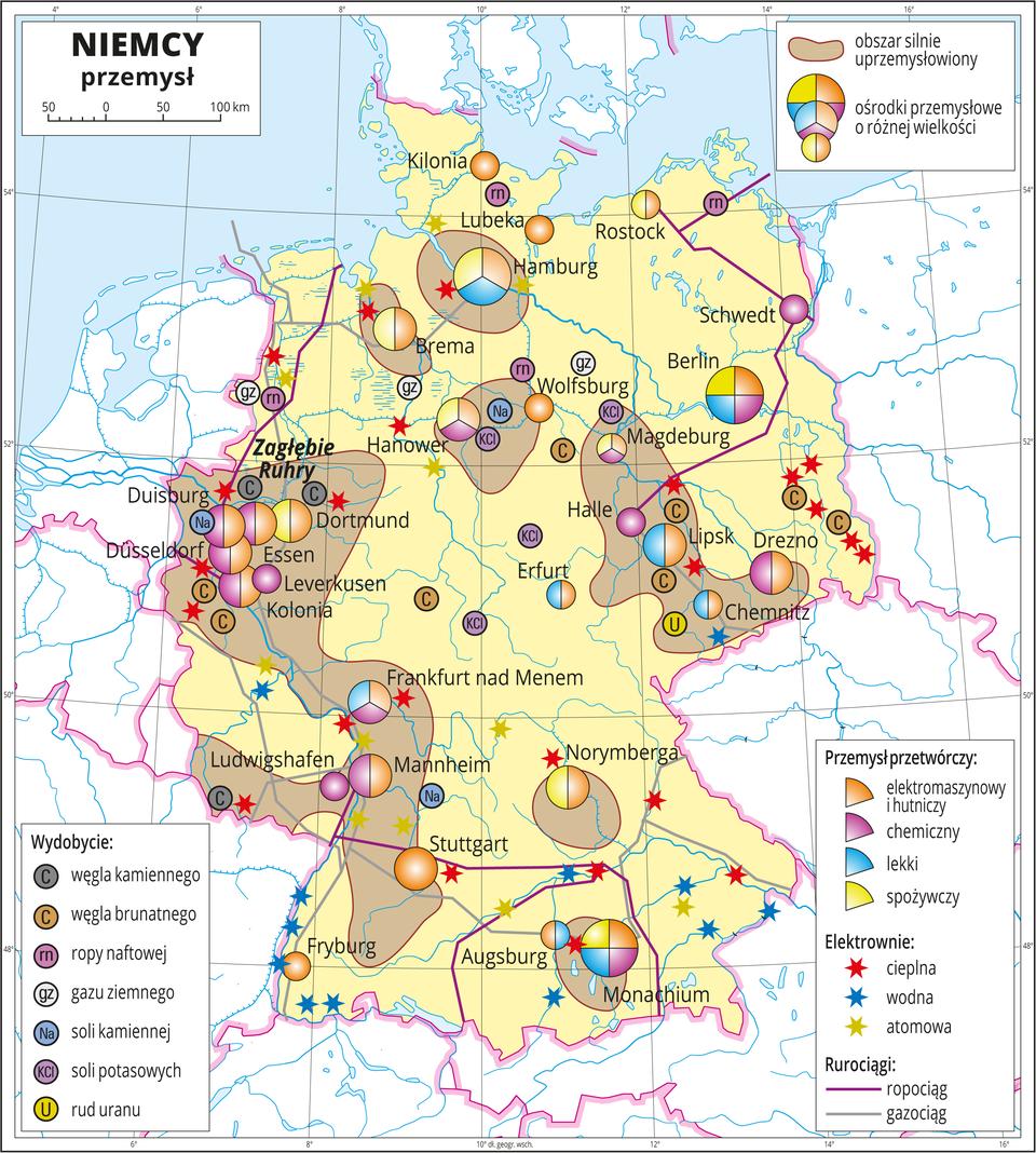 Ilustracja przedstawia mapę gospodarczą Niemiec. Sygnatury kołowe – ośrodki przemysłowe. Duże wMonachium, Hamburgu, Berlinie, kilkanaście średnich sygnatur (Norymberga, Drezno, Lipsk, Dortmund, Frankfurt nad Menem, Stuttgart) oraz kilkanaście mniejszych sygnatur. Przemysł elektromaszynowy ihutniczy oraz chemiczny wprzewadze, lekki oraz spożywczy. Po kilkanaście elektrowni cieplnych iwodnych oznaczonych kolorowymi gwiazdkami, kilka elektrowni atomowych, ropociągi igazociągi oznaczone liniami. Sygnatury oznaczające wydobycie węgla kamiennego, węgla brunatnego, ropy naftowej, gazu ziemnego, soli kamiennej, soli potasowych irud uranu. Dodatkowo brązowymi plamami wyróżniono obszary silnie uprzemysłowione, obejmują one skupiska miast – dużych ośrodków przemysłu – największe na zachodzie – Zagłębie Ruhry. Mapa zawiera południki irównoleżniki, dookoła mapy wbiałej ramce opisano współrzędne geograficzne co dwa stopnie.