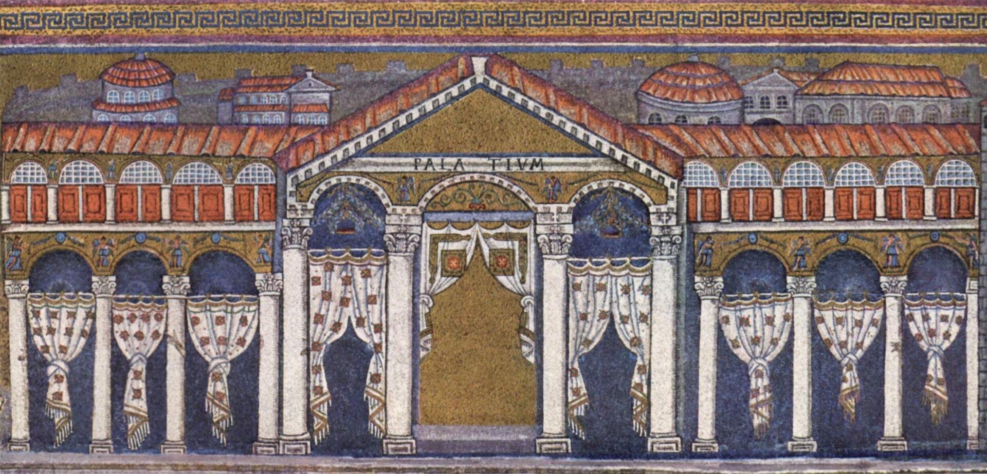 Pałac Teodoryka Wielkiego wRawennie. Mozaika zkatedry
