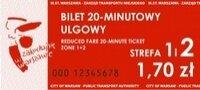 Fotografia przedstawiająca bilet 20-minutowy ulgowy