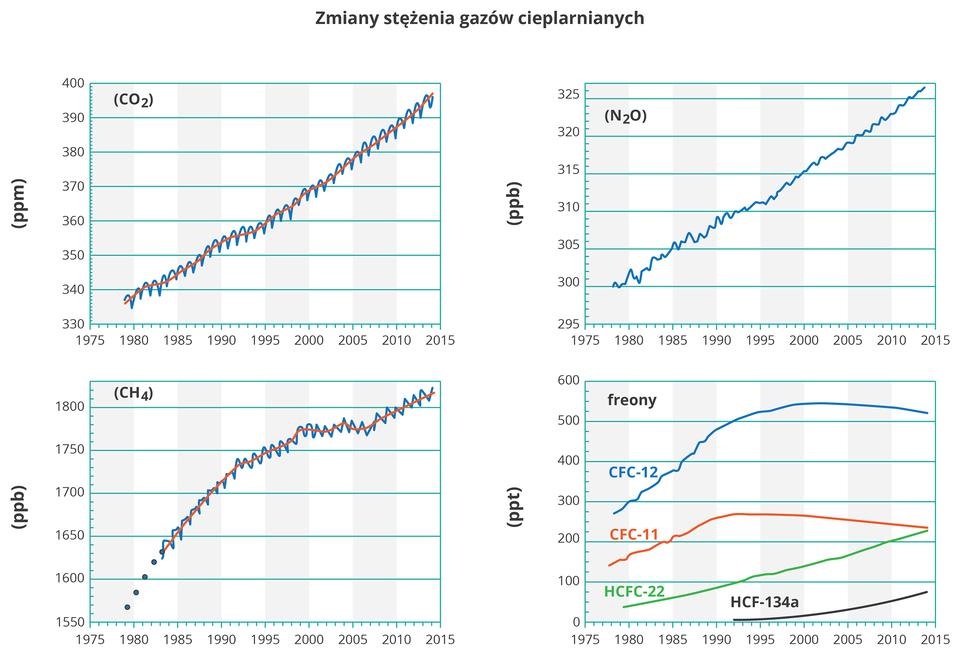 Na ilustracji cztery wykresy liniowe, zmiany stężenia gazów cieplarnianych. Dwutlenek węgla, podtlenek azotu, metan – stężenie rośnie wlatach tysiąc dziewięćset osiemdziesiąt – dwa tysiące piętnaście. Na ostatnim wykresie przedstawiono freony, cztery różne związki używane gównie jako ciecze chłodnicze. Dwa znich wykazują tendencję rosnącą, adwa malejącą.
