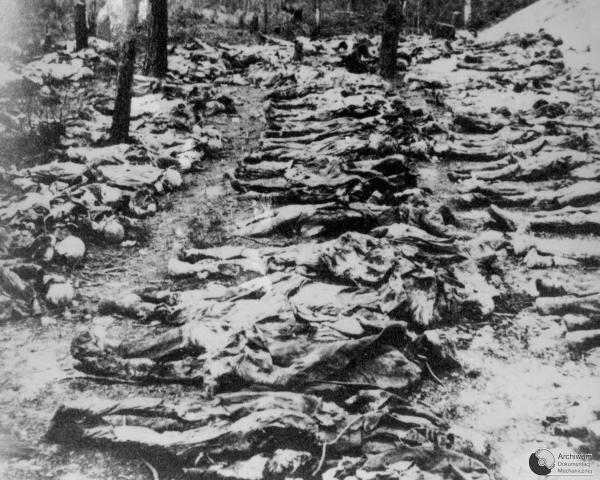 Ekshumacja ciał oficerów zamordowanych przez NKWD wKatyniu w1940 Ekshumacja ciał oficerów zamordowanych przez NKWD wKatyniu w1940 Źródło: Ekshumacja ciał oficerów zamordowanych przez NKWD wKatyniu w1940, 1943, Fotografia, domena publiczna.