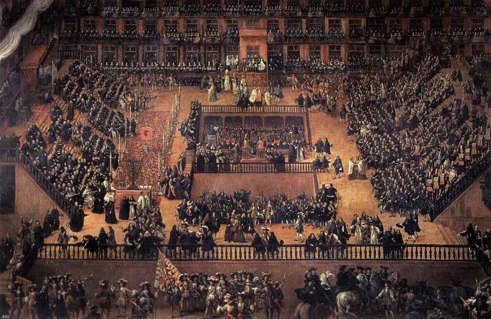 Inkwizycja Autodafé na Plaza Mayor wMadrycie Źródło: Francisco Rizi, Inkwizycja Autodafé na Plaza Mayor wMadrycie, 1683, domena publiczna.