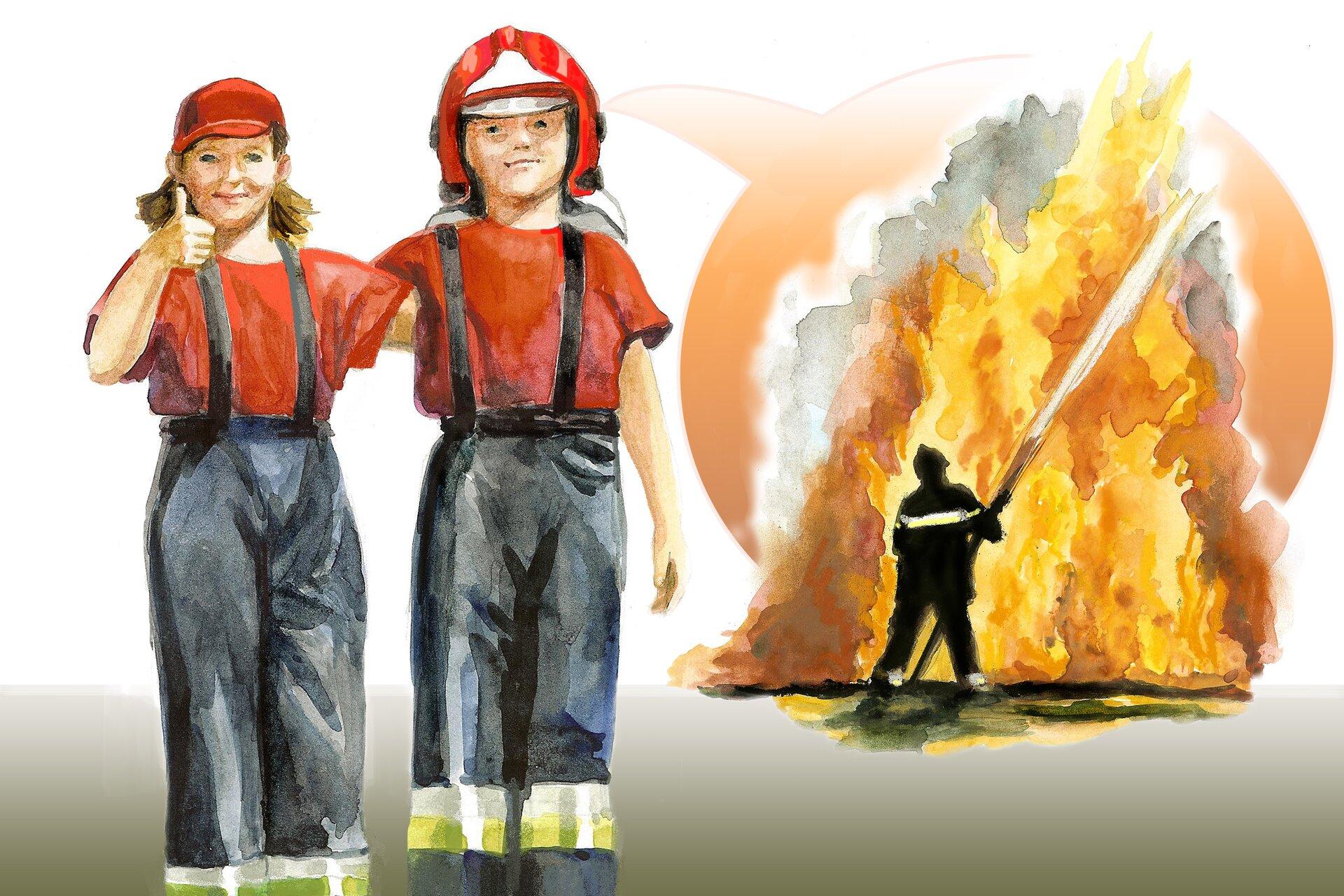 Ilustracja przedstawiająca stojących strażaków na tle strażaka gaszącego pożar