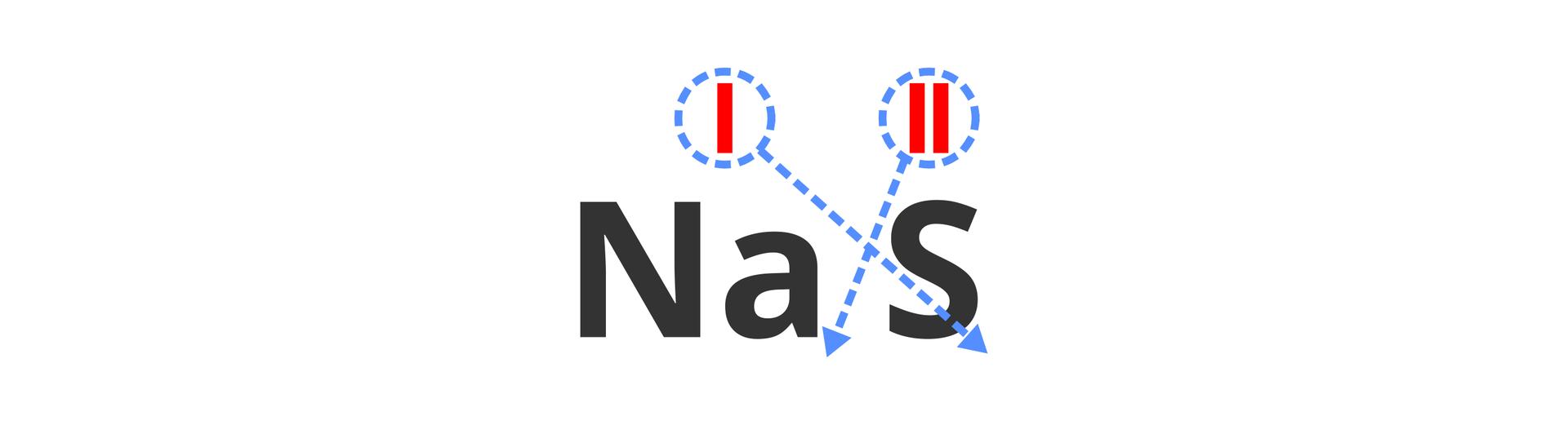 Na ilustracji widoczny jest zaczątek wzoru strukturalnego związku sodu isiarki. Nad symbolami pierwiastków czerwonym kolorem irzymskimi cyframi wyróżniono wartościowość obydwu pierwiastków. Wokół tych cyfr widoczne są niebieskie okręgi istrzałki prowadzące do indeksów dolnych sąsiedniego atomu. Azatem wartościowość dwa zsiarki kierowana jest do indeksu sodu, awartościowość jeden sodu do indeksu siarki.