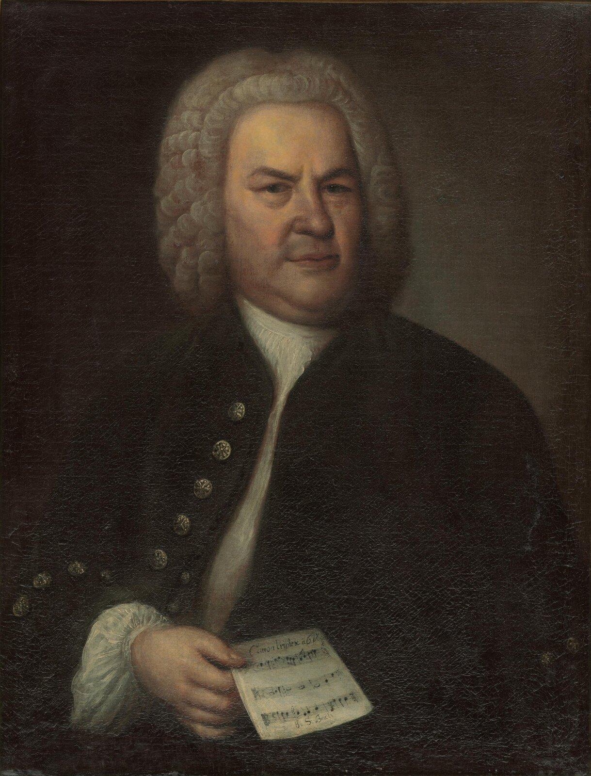 Ilustracja przedstawia portret Johanna Sebastiana Bacha autorstwa Eliasa Gottloba Haussmanna. Kompozytor przedstawiony został jako mężczyzna wśrednim wieku, mocnej budowy ciała, zdość surowym wyrazem twarzy iprzenikliwym spojrzeniem. Na głowie ma białą perukę, sięgającą do ramion. Ubrany jest wbiałą koszulę iciemny surdut. Wprawej ręce trzyma kartkę zzapisanymi nutami.