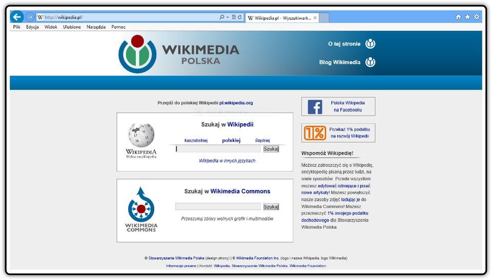 Zrzut okna strony http://wikipedia.pl
