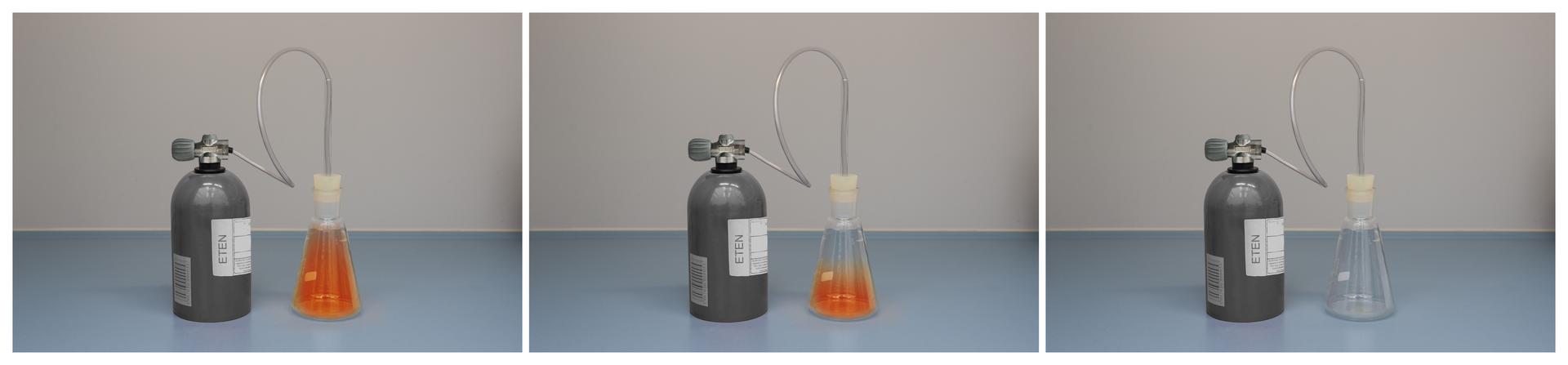 Zdjęcie: butla zetenem, wkolbie stożkowej zamiast cylindra miarowego brom. Trzecie zdjęcie zcałkowitym odbarwieniem.