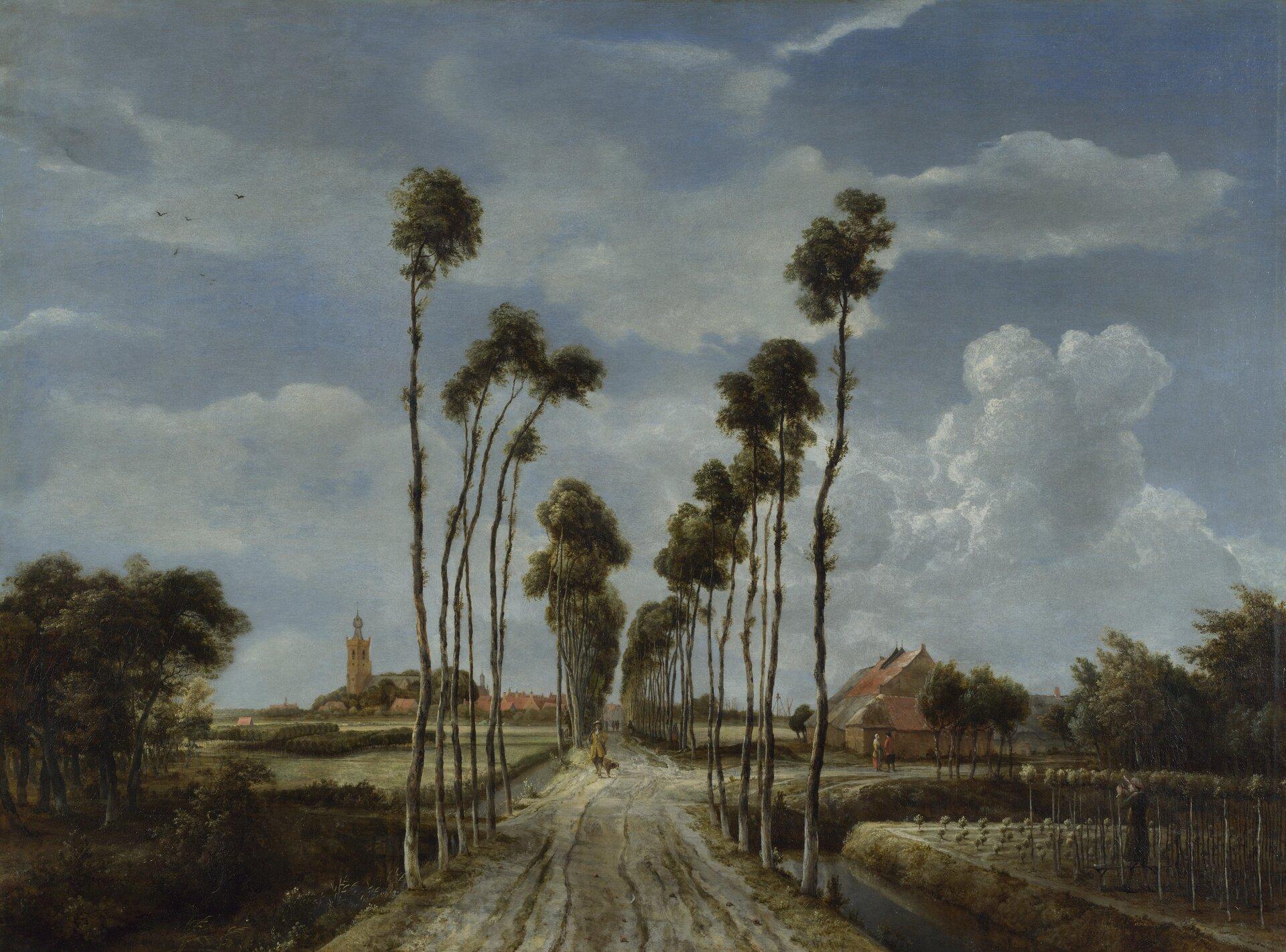 """Ilustracja przedstawia obraz Meinderta Hobbemy pt. """"Droga do Middelharnis"""". Ukazuje ona polną drogę do miasta. Wzdłuż niej rosną wysokie, cienkie drzewa. Obraz przedstawia wiejski krajobraz, którego centralną częścią jest droga zrosnącymi po bokach wysokimi drzewami. Niebo zajmuje przeważającą część obrazu; sfera ziemska zajmuje mniej więcej 1/4 kompozycji. Niebo jest częściowo przysłonięte kłębiastymi chmurami. Na horyzoncie widać wiejskie zabudowania, skupione wokół kościoła, którego wysoka wieża góruje ponad krytymi czerwoną dachówką domami. Prawa odnoga drogi prowadzi do gospodarstwa, wktórym znajduje się duży dom idwie rozmawiające osoby. Na pierwszym planie po prawej stronie widoczna jest kobieta, zbierająca winogrona. Ponadto pośrodku głównej drogi, obok odnogi, widoczny jest spacerujący mężczyzna zpsem."""