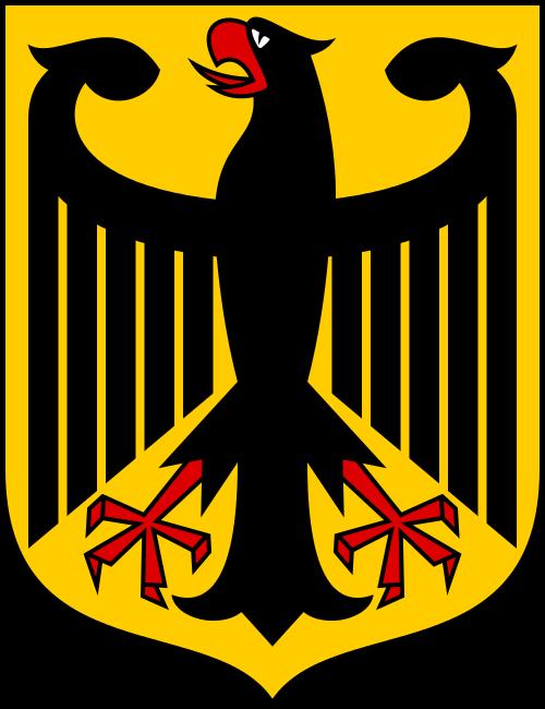 Grafika przedstawiająca Godło Zachodnich Niemiec. Czarny orzeł zczerwonymi elementami na żółtym tle.