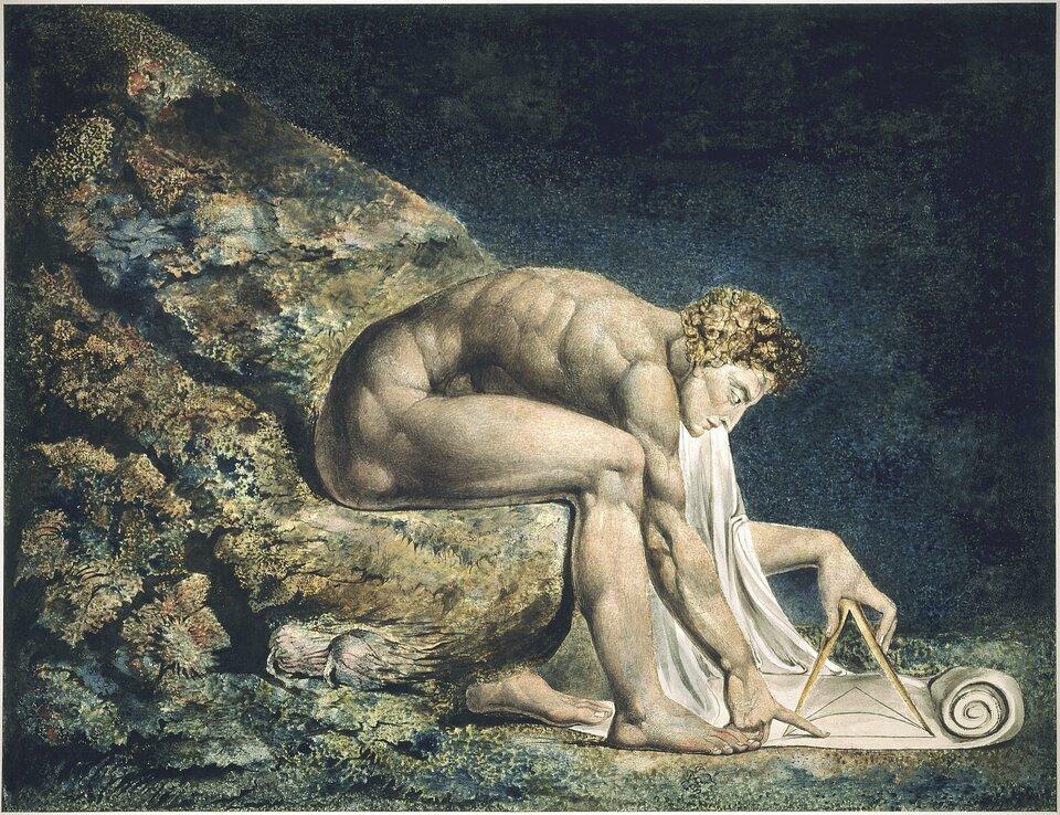 Malowidło wykonane wtechnice akwareli przedstawiające nagą muskularną postać ukazaną zprofilu siedzącą na skale, przypuszczalnie na dnie morza. Postać jest mocno pochylona ina kawałku zwoju pergaminowego leżącego ujego stóp kreśli za pomocą cyrkla figury geometryczne.