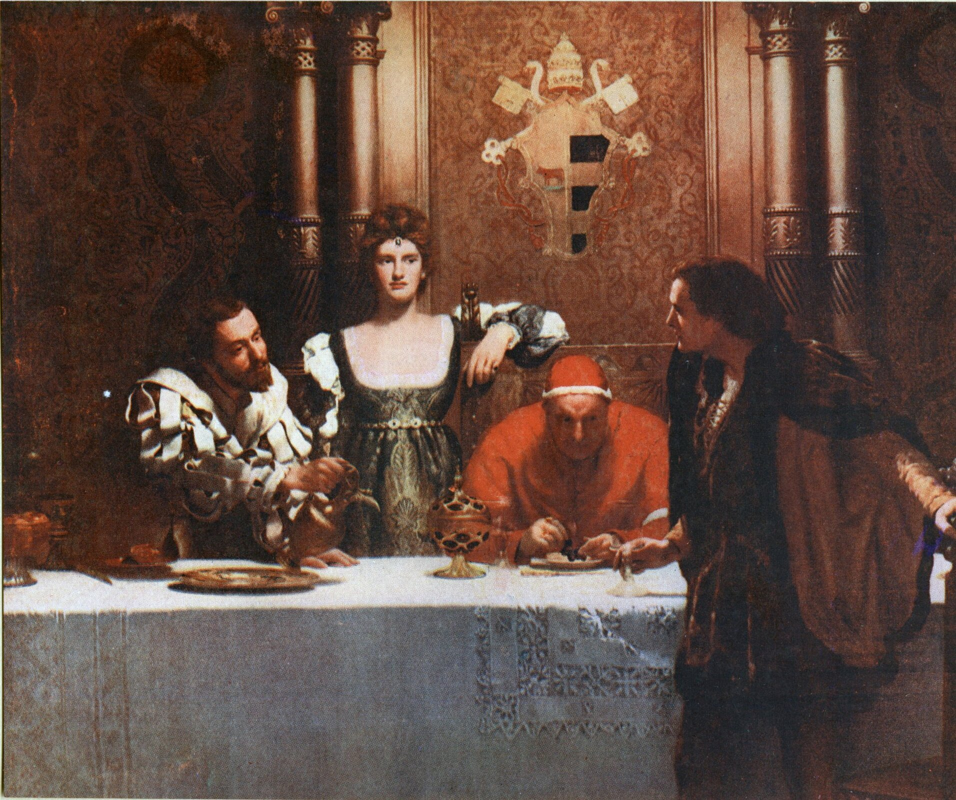 """Cezar Borgia – czarna legenda - obraz zXIX w. JohnMaler Collier (1850-1934) był malarzem brytyjskim przełomu XIX iXX wieku, uznawanym za jednego ztwórców kierunku zwanego prerafaelityzmem. Obraz zatytułowany """"A Glass of Wine with Caesar Borgia"""" (Szklanka wina zCezarem Borgia, 1893) pokazuje czarną legendę, jaką od czasów renesansowych otoczono rodzinę Borgiów, oskarżając ich owszelkie możliwe niegodziwości. Ostatni serial zpocz. XXI w. nadal podtrzymuje czarną legendę środowiska watykańskiego uprogu czasów nowożytnych. Źródło: John Collier, Cezar Borgia – czarna legenda - obraz zXIX w. , 1893, Ipswich Museum and Art Gallery, domena publiczna."""