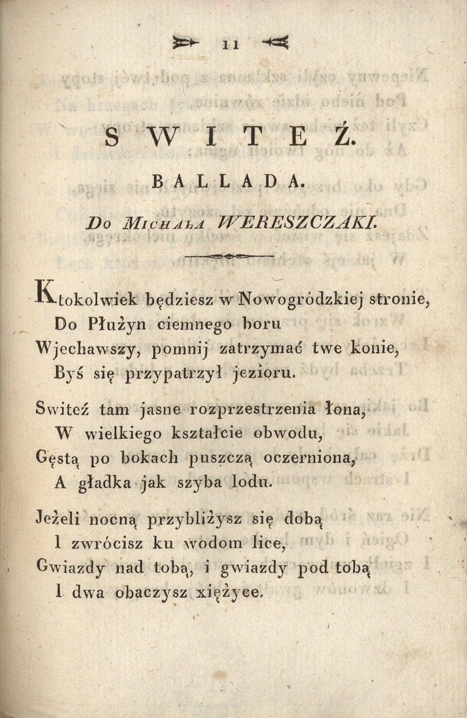 Poezye Adama Mickiewicza Źródło: Adam Mickiewicz, Poezye Adama Mickiewicza, Wilno 1822, domena publiczna.