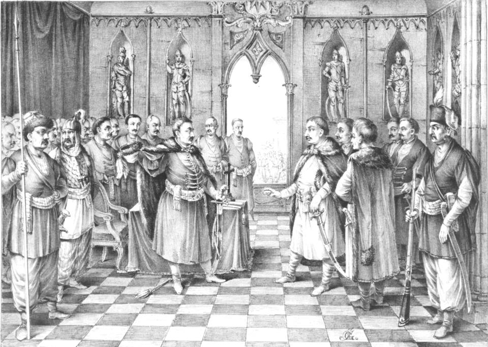 Poselstwo Zamościa negocjuje zB. Chmielnickim warunki odstąpieniaod oblężenia w1648 r. Poselstwo Zamościa negocjuje zB. Chmielnickim warunki odstąpieniaod oblężenia w1648 r. Źródło: Józef Hilary Głowacki, przed 1858, domena publiczna.