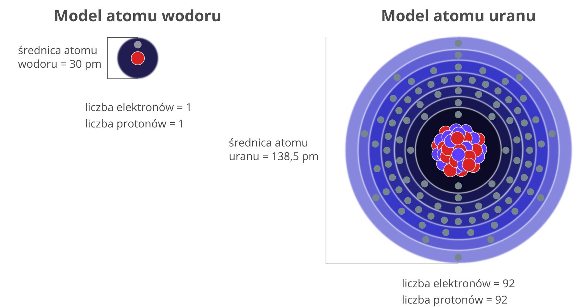 Ilustracja przedstawia rysunki schematów atomów wodoru zlewej strony iatomów uranu zprawej strony. Są to odpowiednio najmniejszy inajwiększy atom występujący na Ziemi naturalnie. Model atomu wodoru składa się zjądra zawierającego jeden proton wpostaci czerwonego koła ijednej powłoki elektronowej zjednym elektronem. Obok widnieją dane liczbowe: średnica 60 pikometrów, liczba elektronów 1, liczba protonów 1. Model atomu uranu składa się zjądra zawierającego 92 protony oraz pewną nieokreśloną bliżej liczbę kulek niebieskich, czyli neutronów. Dookoła jądra zaznaczonych jest 7 powłok elektronowych złącznie 92 elektronami. Obok widnieją dane liczbowe: średnica 276 pikometrów, liczba elektronów 92, liczba protonów 92.