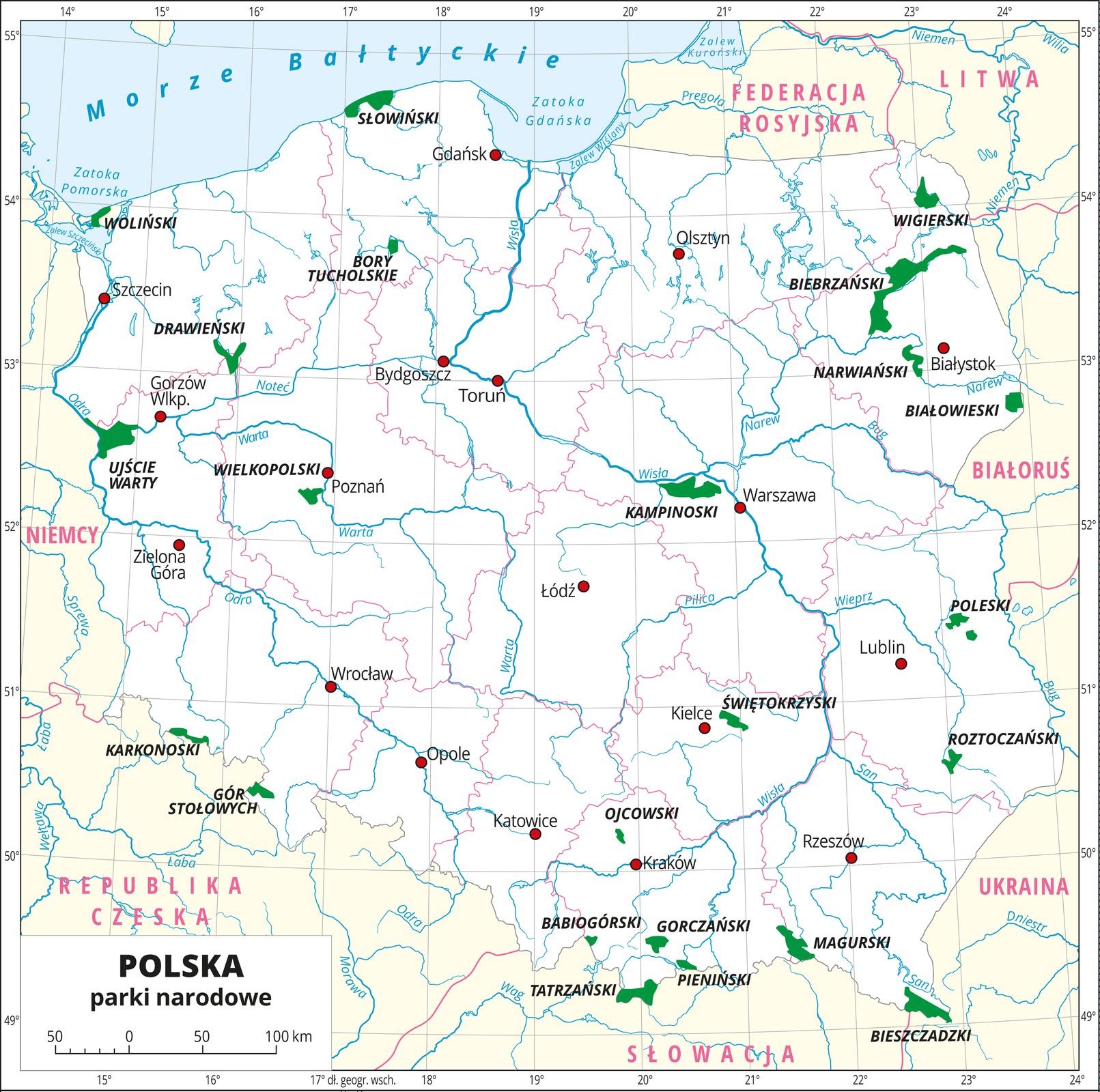Mapa Polski zoznaczonymi na zielono parkami narodowymi.