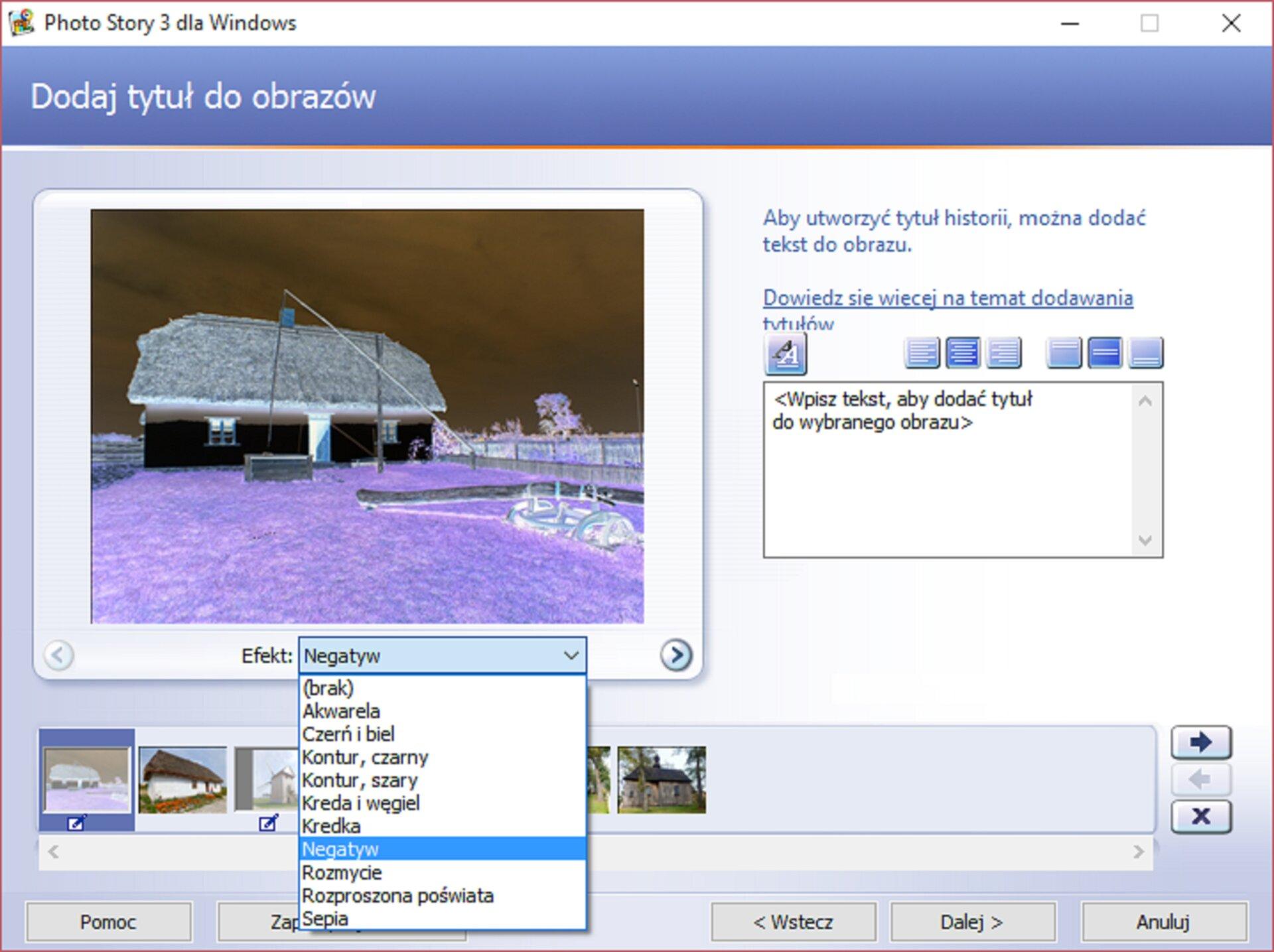 Zrzut okna: Dodaj tyruł do obrazów wprogramie Photo Story 3 dla Windows