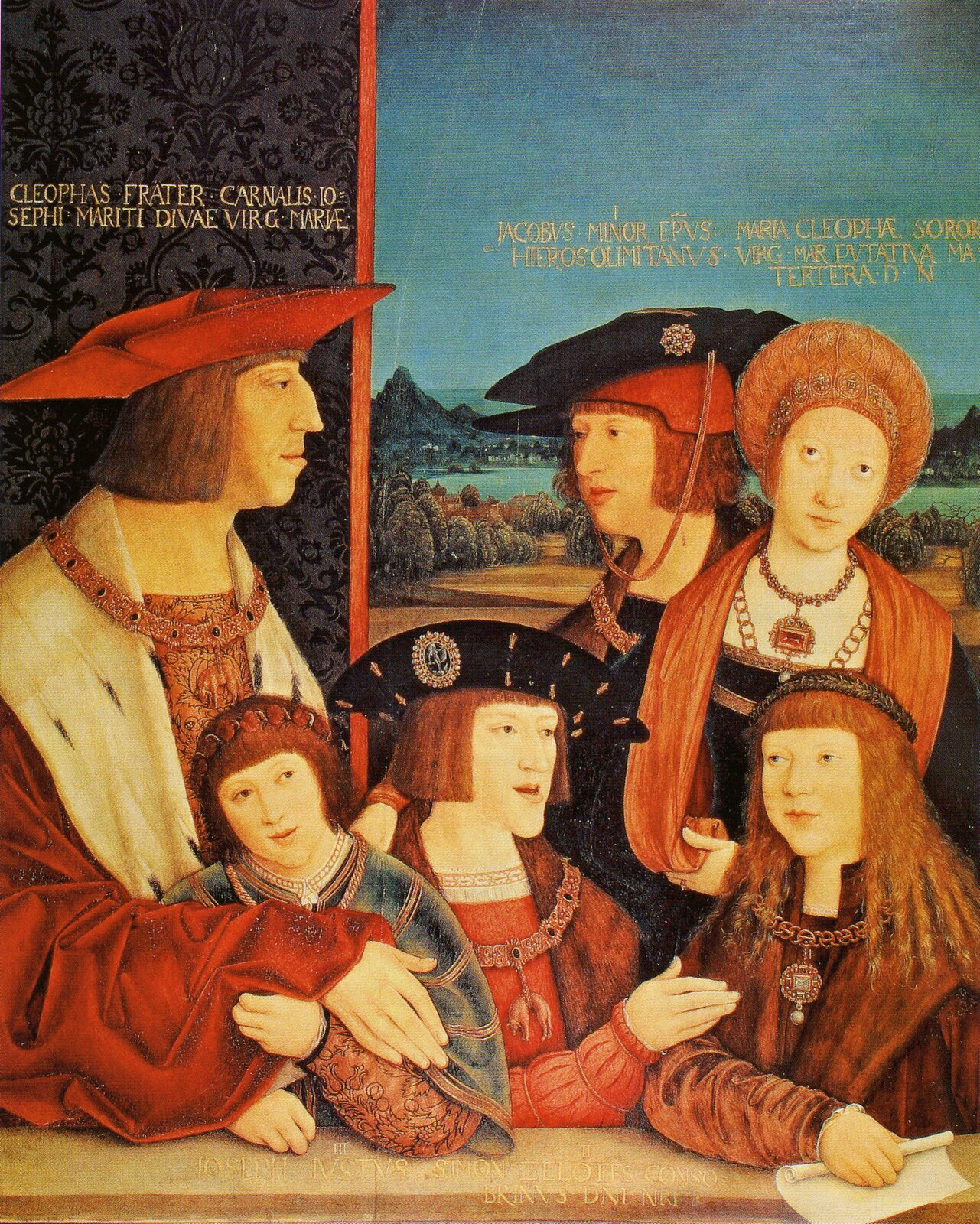 Cesarz Maksymilian Izrodziną Portret zbiorowy, powstały po 1515 roku, trafnie ukazujący habsburską politykę matrymonialną, choć przynajmniej dwie osoby na nim ukazane wpodobnej scenie nie mogłyby wziąć udziału. Wtylnym rzędzie: po lewej - cesarz Maksymilian I, po prawej - jego pierwsza żona Maria Burgundzka (w momencie tworzenia obrazu nieżyjąca już od prawie 30 lat), pośrodku - ich syn Filip IPiękny (król Kastylii, zmarł prawie 10 lat przed stworzeniem portretu). Wpierwszym rzędzie: po lewej - Ferdynand I(syn króla Kastylii Filipa IPięknego ijego żony Joanny Szalonej, przyszły król icesarz oraz mąż Anny, córki Władysława Jagiellończyka), wśrodku - jego starszy brat Karol V(przyszły cesarz), apo prawej - Ludwik Jagiellończyk, adoptowany przez cesarza Maksymiliana (przyszły władca - chociaż koronowany już wlatach 1508-09 - Czech iWęgier, atakże mąż siostry Karola iFerdynanda - Marii). Obraz powstał dla upamiętnienia odbytego 1515 roku wiedeńskiego zjazdu monarchów (Zygmunta IStarego – króla Polski iwielkiego księcia Litwy, Władysława II Jagiellończyka – króla Czech iWęgier oraz Maksymiliana IHabsburg – cesarza Świętego Cesarstwa Niemieckiego), aściślej - dla upamiętnienia decyzji opodwójnych zaślubinach: Ferdynanda zAnną Jagiellonką oraz Ludwika zMarią Habsburżanką, co wefekcie niosło połączenie domu Habsburgów iJagiellonów. Inskrypcje na obrazie zostały dodane wlatach późniejszych izawierają imiona świętych: Kleofasa, Marii Alfeuszowej, Jakuba Mniejszego Apostoła, Józefa Barsabbasa (zwanego Justusem) iSzymona Zeloty Apostoła. Źródło: Bernhard Strigel, Cesarz Maksymilian Izrodziną, po 1515, olej na drewnie świerkowym, Kunsthistorisches Museum Wien, domena publiczna.