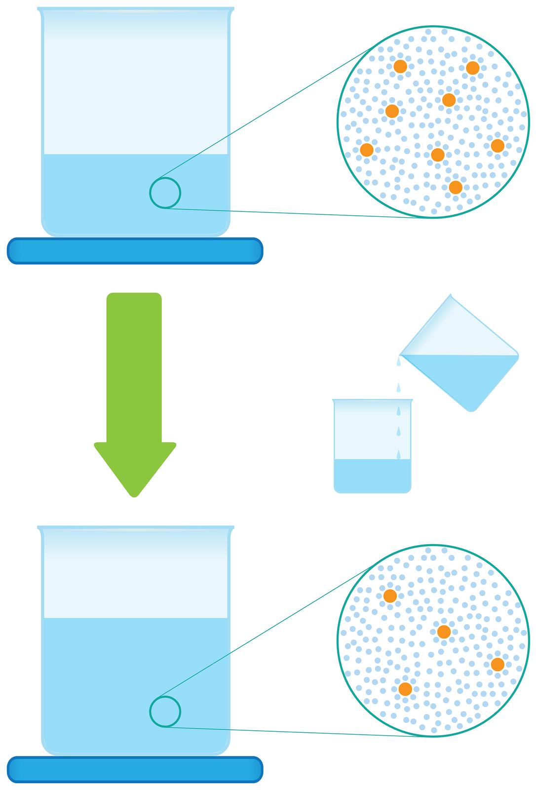 Ilustracja przedstawia proces rozcieńczania roztworu. Składa się zdwóch rysunków umieszczonych jeden nad drugim. Na rysunku górnym stojąca na niebieskiej podkładce zlewka napełniona jest wjednej trzeciej roztworem. Wobszarze roztworu małym kółkiem wyróżniono niewielki fragment iumieszczono po prawej stronie połączone znim dwiema liniami duże koło stylizowane na mikroskopowe powiększenie tego obszaru. Wkole widoczne są duże pomarańczowe kule symbolizujące cząstki rozpuszczonej substancji wliczbie ośmiu sztuk otoczone przez liczne małe niebieskie kulki symbolizujące cząsteczki wody. Poniżej, pośrodku ilustracji znajduje się gruba zielona strzałka skierowana wdół obok której umieszczono rysunek na którym do zlewki zroztworem dodawana jest tak samo wyglądająca ciecz zdrugiej zlewki. Poniżej, na rysunku dolnym ponownie obraz zlewki stojącej na niebieskiej podkładce ze zbliżeniem fragmentu zawartości. Tym razem zlewka napełniona jest wdwóch trzecich, ana powiększeniu cząsteczek substancji rozpuszczonej wwodzie jest dwa razy mniej.