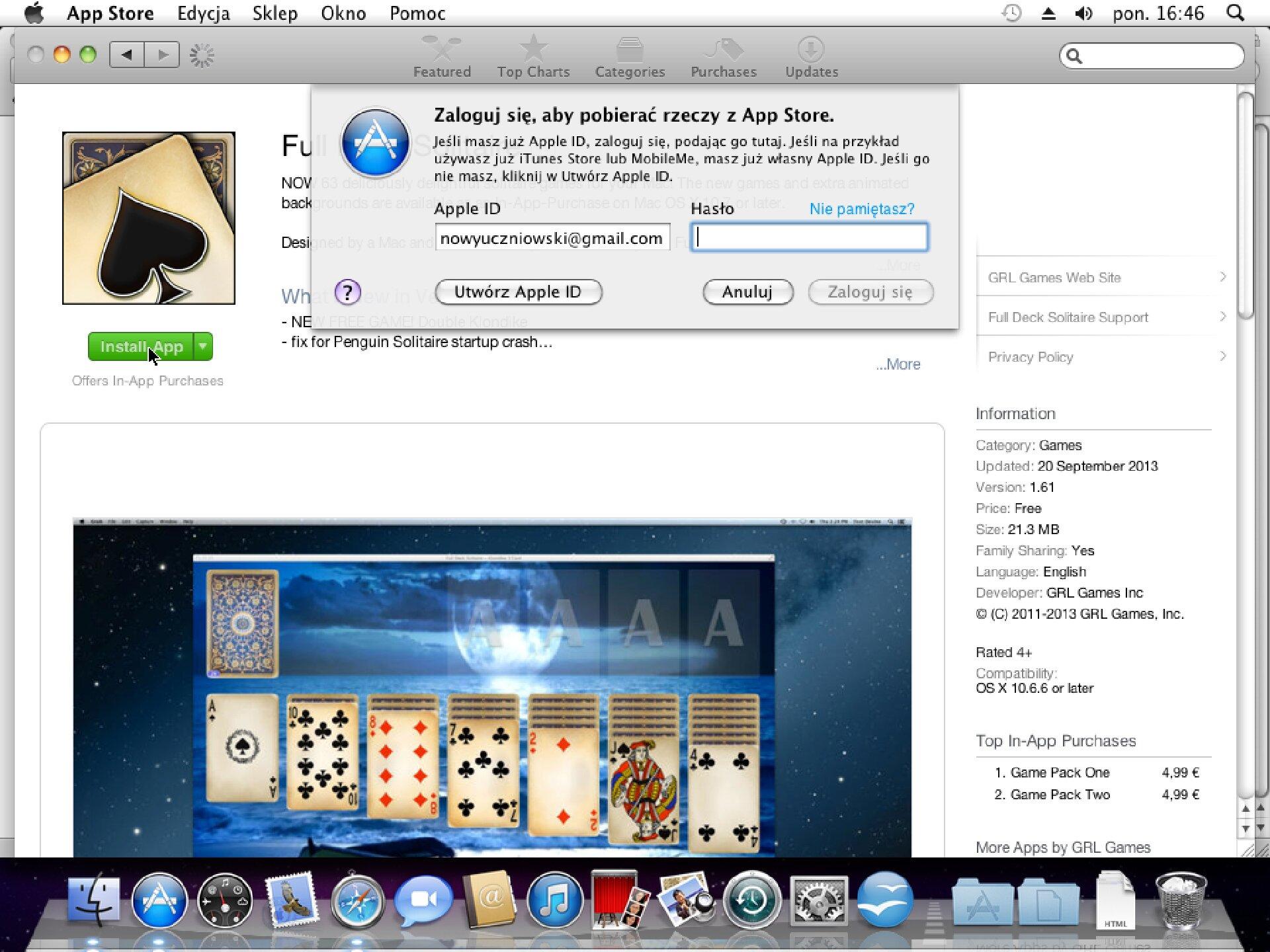 Zrzut okna 8 procesu instalacji programu wsystemie Mac OS X