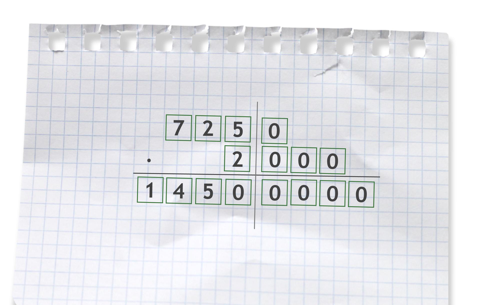 Przykład: 7250 razy 2000 =14500000. Rozwiązanie zadania podpunkt a.