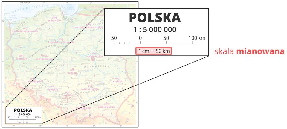 Trzecia ilustracja pokazuje powiększenie legendy mapy zpodziałką liniową, która jest przedstawiona jako linia podzielona na jednocentymetrowe odcinki. Każdemu kolejnemu centymetrowi odpowiada pięćdziesiąt kilometrów odległości wterenie.