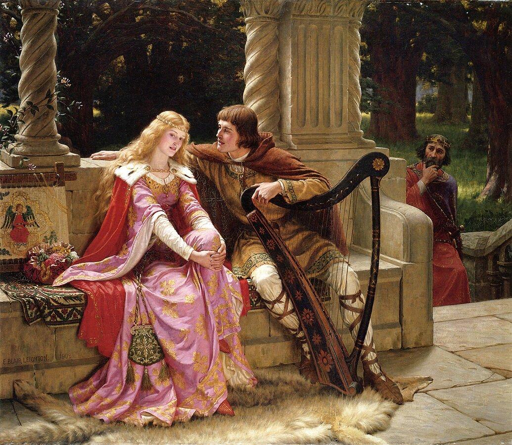 Obraz przedstawia kobietę imężczyznę siedzących na kamiennej ławce na tarasie. Kobieta siedzi po lewej stronie, mężczyzna po prawej - rękę opiera na kamiennym murku ztyłu siedzącej kobiety. Nachyla się wjej kierunku. Mężczyzna trzyma harfę. Kobieta ma długie, jasne włosy idługą suknię. Na ramiona ma narzuconą królewską pelerynę zkołnierzem zfutra gronostaja. Po prawej stronie siedzących po schodach wchodzi brodaty, starszy mężczyzna wkoronie na głowie. Patrzy na parę. Wtle drzewa.