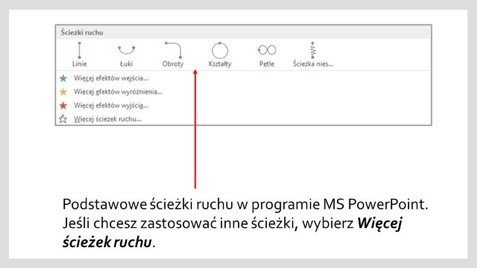 Slajd 1 galerii zrzutów okien zefektami ścieżek ruchu wprogramie MS PowerPoint