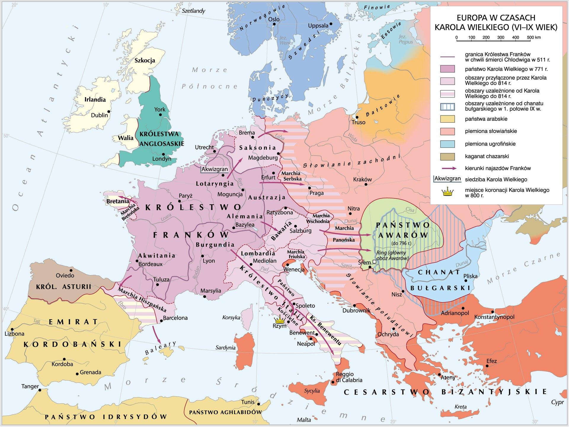 Mapa podbojów Karola Wielkiego Mapa podbojów Karola Wielkiego Źródło: Krystian Chariza izespół, licencja: CC BY 3.0.