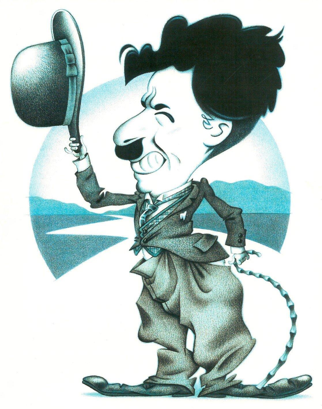 Karykatura Charliego Chaplina Karykatura Charliego Chaplina Źródło: Greg Williams, licencja: CC BY-SA 2.5.