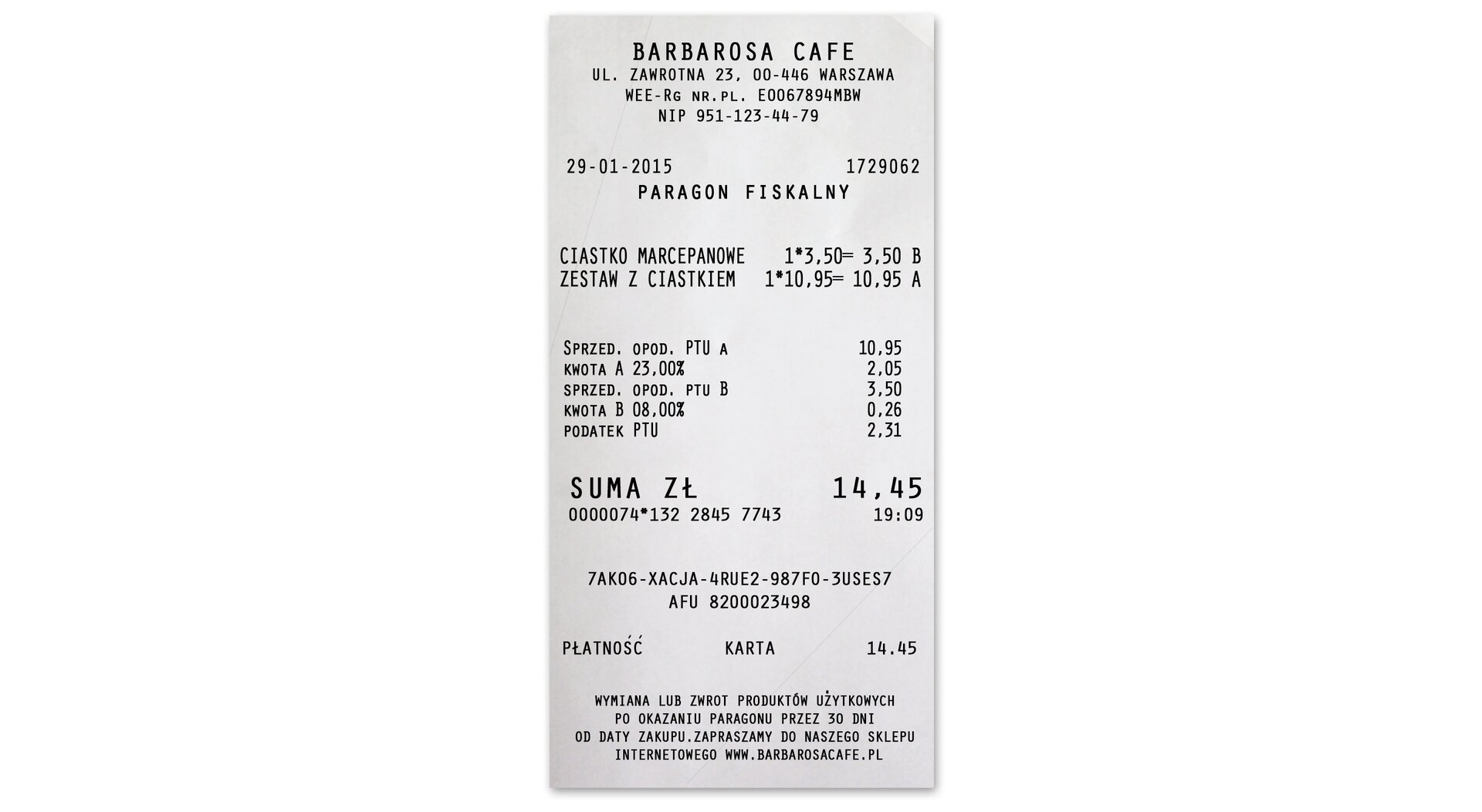 Rysunek paragonu fiskalnego. Zakupiono ciastko marcepanowe za 3,50 oraz zestaw zciastkiem 10,95. Koszt zakupów 14,45.